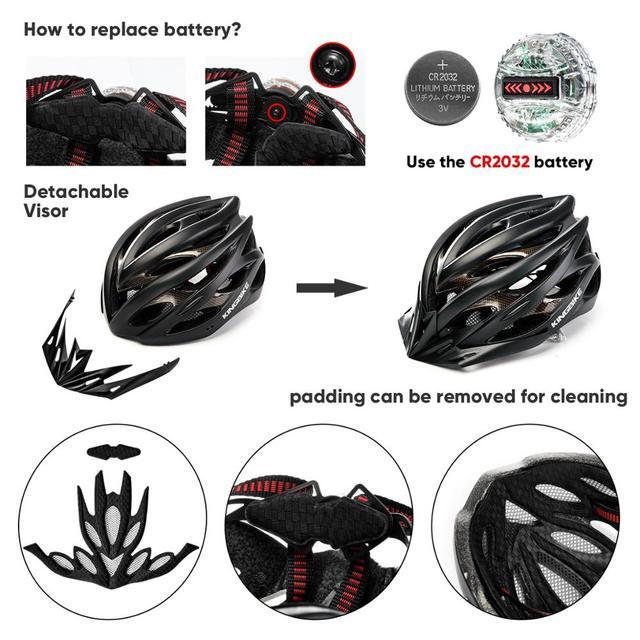 Capacete de bicicleta certificado cpsc ce, capacete de ciclismo mtb com luz traseira e viseira solar 5