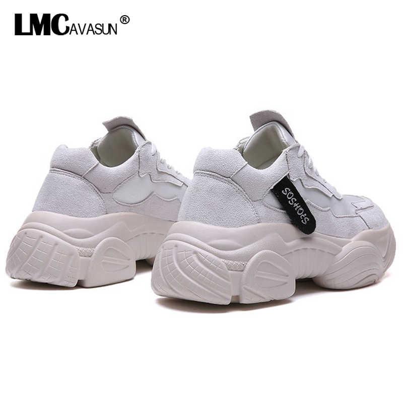 LMCAVASUN ורוד סניקרס נשים סניקרס 2019 פלטפורמת שמנמן מאמני נשים נעלי קיץ הנעלה נעליים יומיומיות סלי