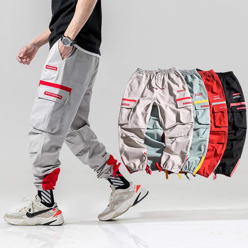 Hip Hop Harem Cargo Pants Men 2020 Side Pockets Trousers Joggers Streetwear Male Fashion Casual Sweatpants Jogger Men