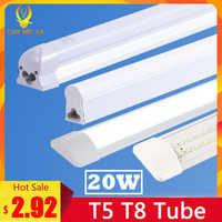 Super brillante T5 T8 Led tubo de luz lámpara 220V 600mm 60cm 120cm Lampara Tube Led Bombilla 2FT 4FT alta potencia 20W Tri prueba hogar Luz