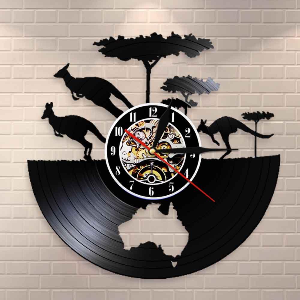 Australia Kangaroo Clock Australian Continent Map Vinyl Record Wall Clock Australia Map Vinyl Record Wall Art AU Travel Gift