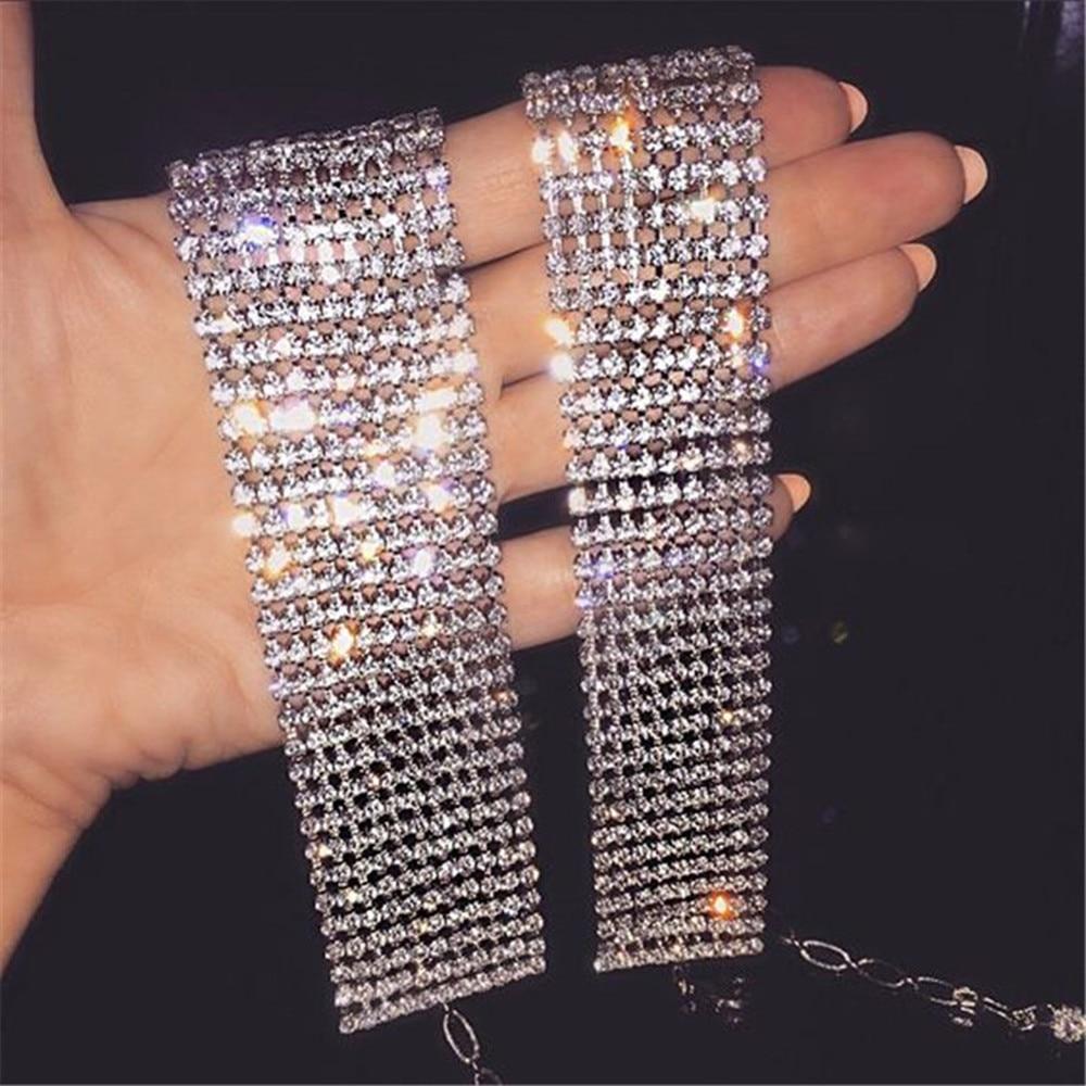 Ожерелье Стразы блестящее в несколько рядов женское, роскошное колье с кристаллами, широкая цепочка на воротник, подарочное ожерелье