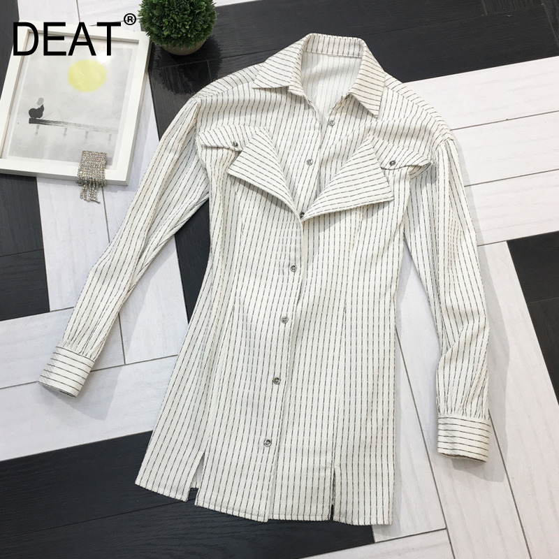 DEAT 2020 New Spring And Summer Fashion Women Clothing Turn-down Collar Full Sleeves Striped Spliced Single Breasted Shirt WL108