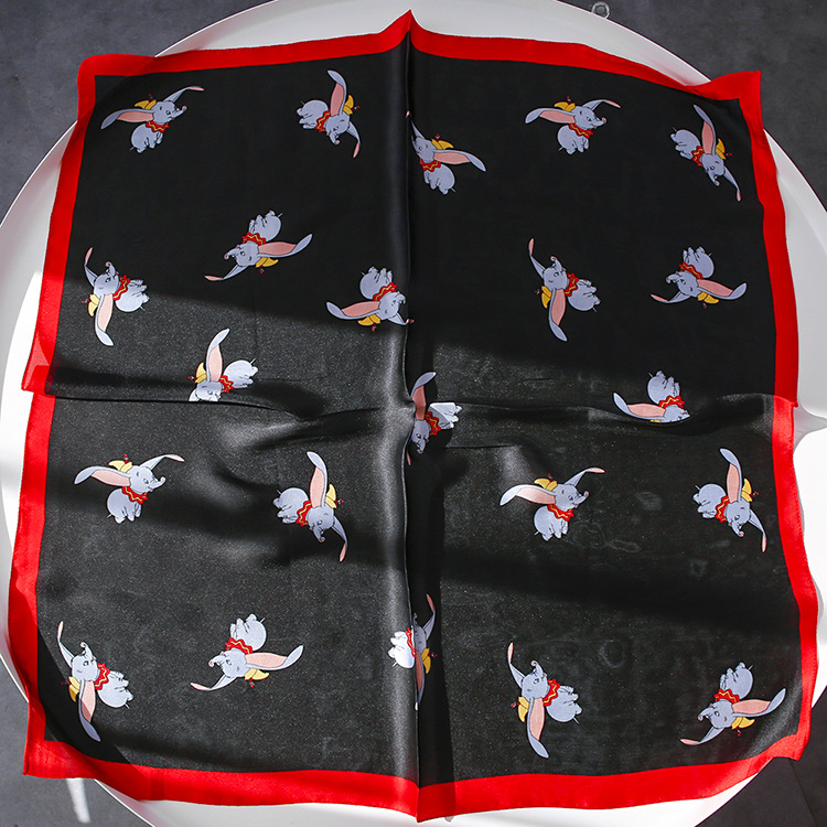 Yishine 70x70CM 3 Colors Women Polyester Scarf Dumbo The Flying Elephant Prints Summer Satin Long Wraps Rhombic Scarves Shawl