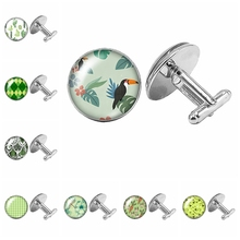цена на 2019 New Hot Sale Beauty Flower Pattern Color Pattern Cufflinks Glass Cabochon Handmade Pattern Cufflinks Gift Cufflinks
