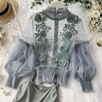 Spring Women Tops Fashion Sexy Sheer Lace Blouse Lantern Sleeve 3D Floral Blouses Shirts Elegant Top Blusas Femininas lace applique lantern sleeve cold shoulder top