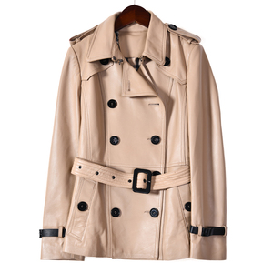Image 2 - Spring Genuine Leather Jacket Women Classical Elegant Sheepskin Leather Jacket Belt Short