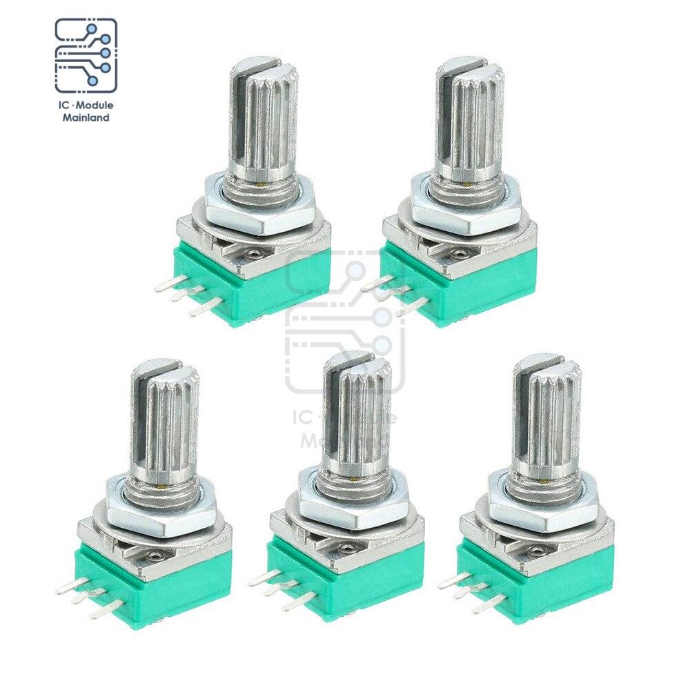 5 Pçs/lote 3pin Tipo Potenciômetro B 5K-Carbon Film Resistores Variáveis 500K Ohm Single Turn Rotary Taper Potenciômetro Linear