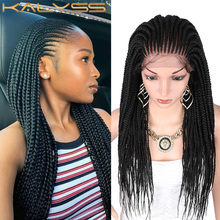 Wigs Synthetic Parting Hand-Braided Baby-Hair Lace Kalyss 13x5 Women for with 29-Inches