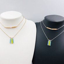 ashionable column - shaped layered necklace creative European and American simple stick pendant gold silver optiona