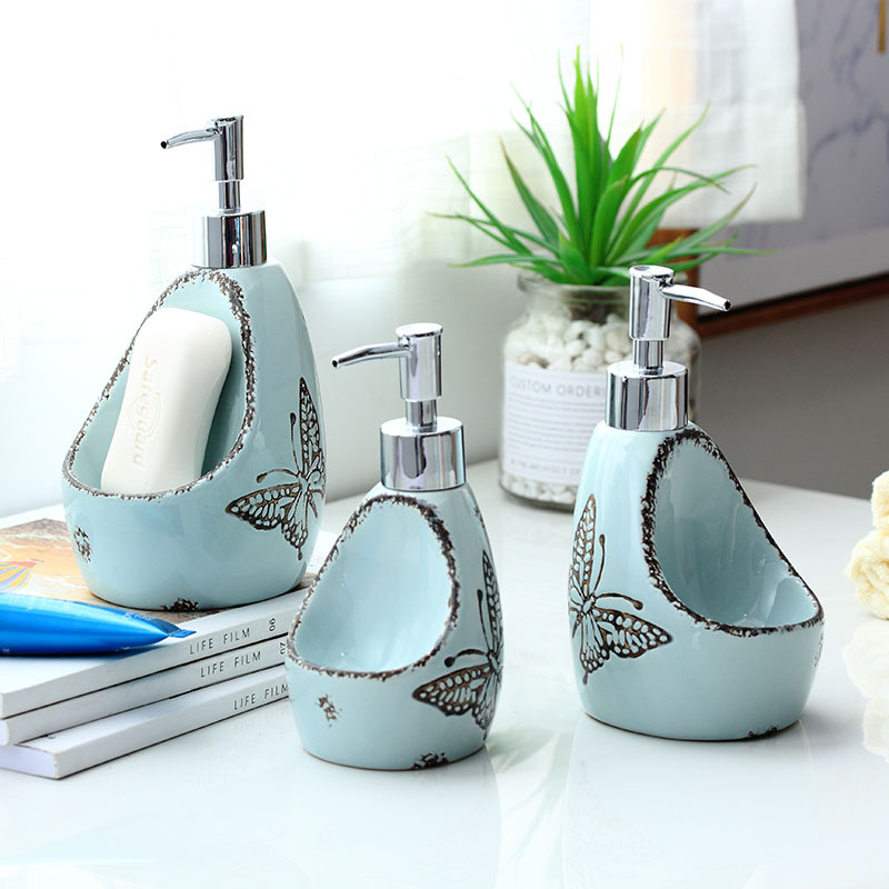 Hand Liquid Soap Dispenser with Sponge Holder,Ceramic Lotion Dispenser Bottle&Plastic Pump Head,Home Bathroom and Kitchen Sink image