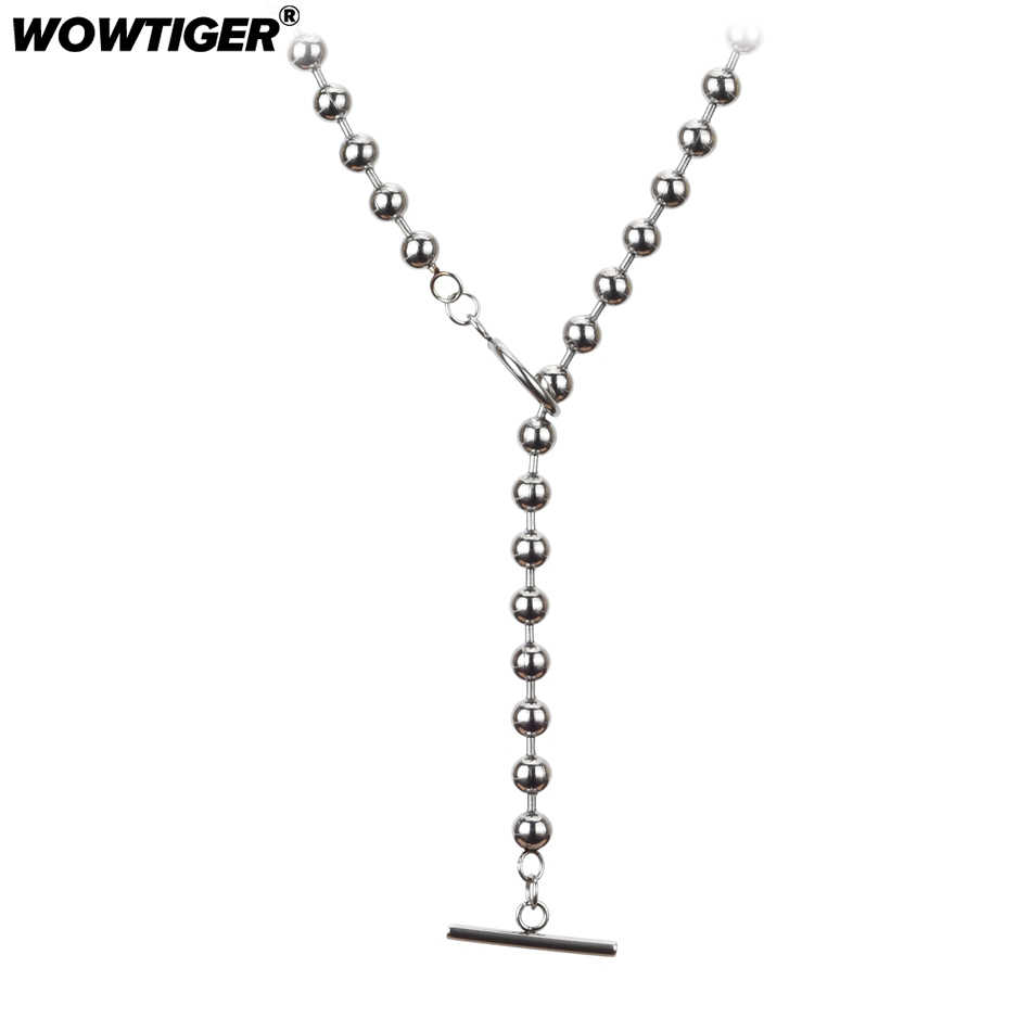 WOWTIGER New neck Bead Chain silver stainless steel pendant Necklace women Necklace Women Holiday Beach Jewelry Wholesale