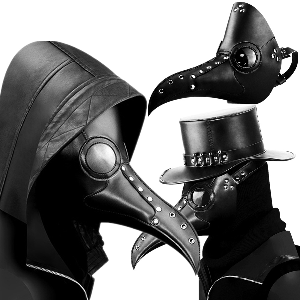 Halloween Plague Doctor Cosplay Bird Mask Steampunk Black PU Masks