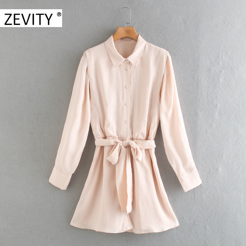 Zevity women fashion turn down collar solid single breasted shirt dress chic office lady bow tied sashes business dresses DS4386