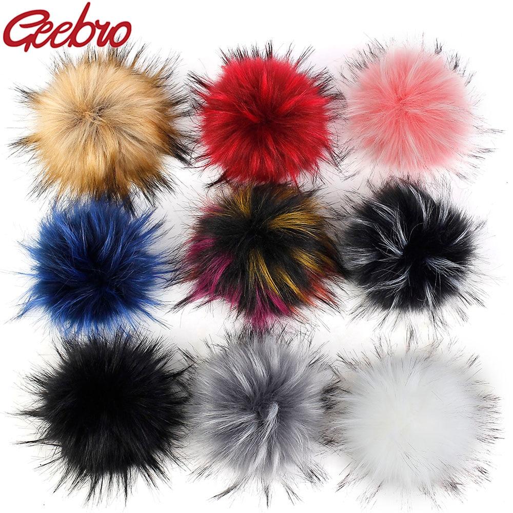 Geebro 15 CM Handmade DIY Hairball Hat   Beanie   Balls Faux Fur Pom Pom Wool Ball With Buckle Bags Accessories Female Winter Caps