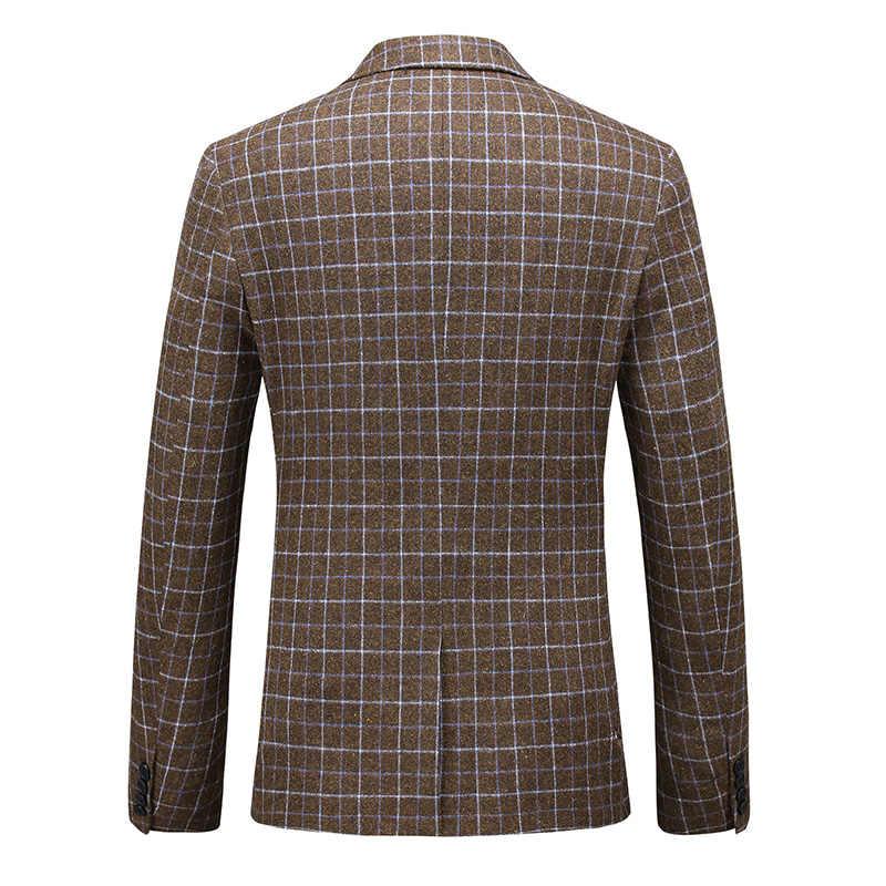 Plyesxale Grau Braun Plaid Anzug Männer Slim Fit Hohe Qualität Mens Wolle Anzüge Drei Stück Formale Kleid Anzug Männlichen 6XL große Größe Q939