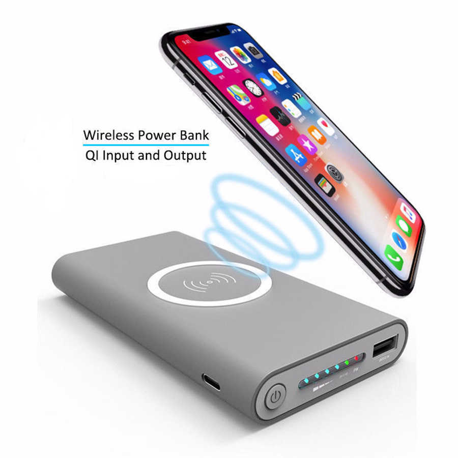 Qi Wireless Charger Universal Portabel Charger Nirkabel Power Bank 30000 MAh untuk iPhone 8 X Samsung S6 S7 S8 Ponsel telepon