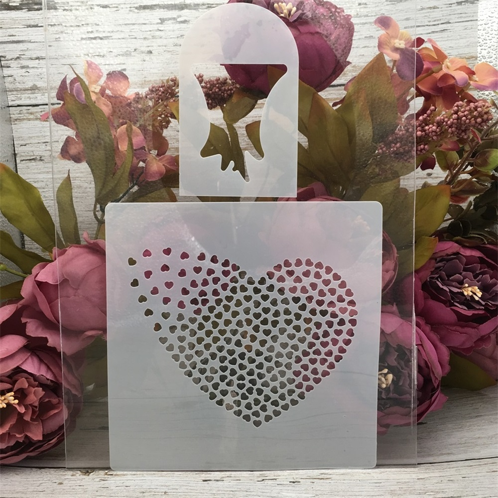 2Pcs 16*16cm Hearts Tree Set DIY Craft Layering Stencils Painting Scrapbooking Stamping Embossing Album Paper Card Template