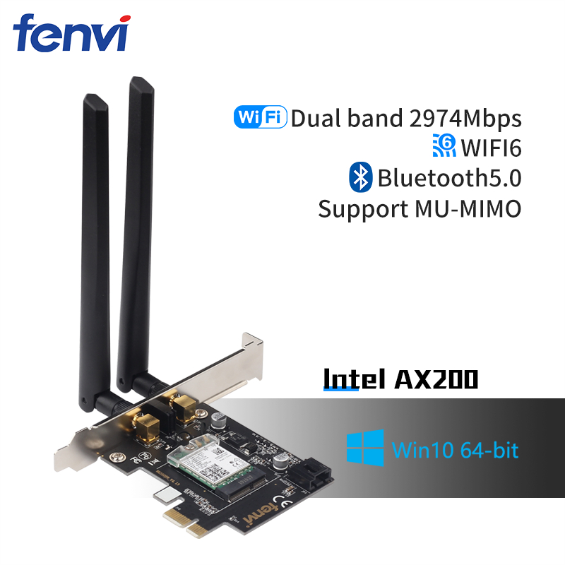 Desktop Wi-Fi 6 PCI-E Wireless Adapter 2.4Gbps 2.4G/5Ghz 802.11ac/ax Bluetooth 5.0 AX200NGW Wifi Card For Intel AX200 MU-MIMO