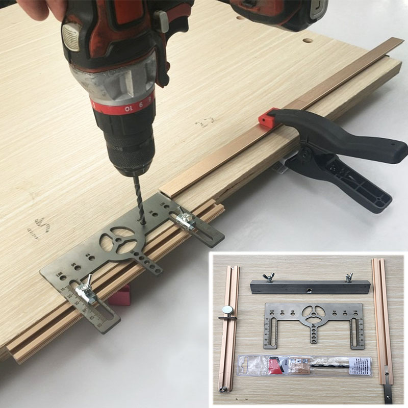 Door Handle Drilling Template Drawer Wardrobe Handle Drilling Tool Extension Cupboard Hardware Jig Woodworking Punch Tool
