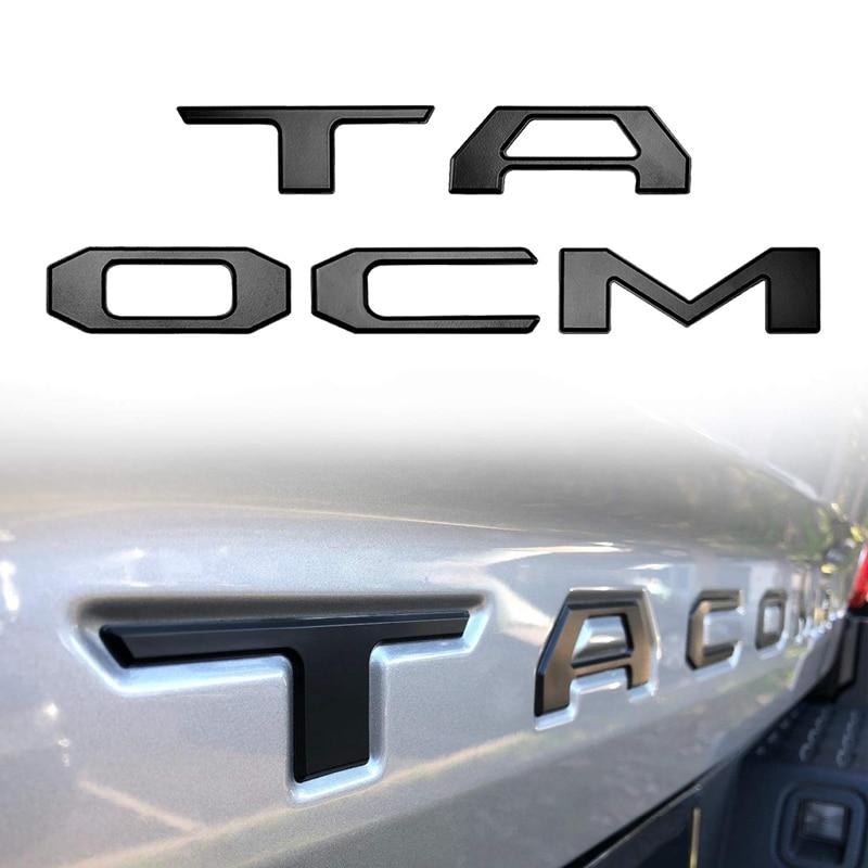 3D Raised Tailgate Insert Letters Emblem for Toyota Tacoma 2016 2019 Emblem Inserts (Matte Black) Car Stickers     - title=