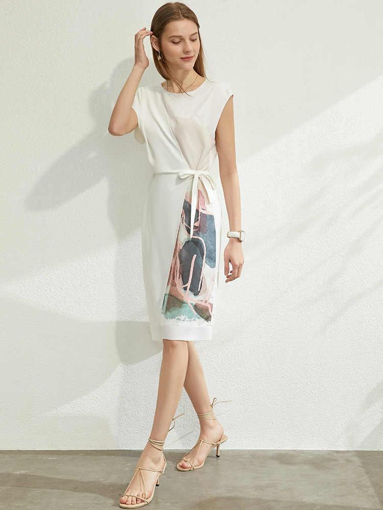 AMII 미니멀리즘 봄 여름 인쇄 기질 여성 드레스 인과 Oneck 민소매 높은 허리 여성 드레스 12070236