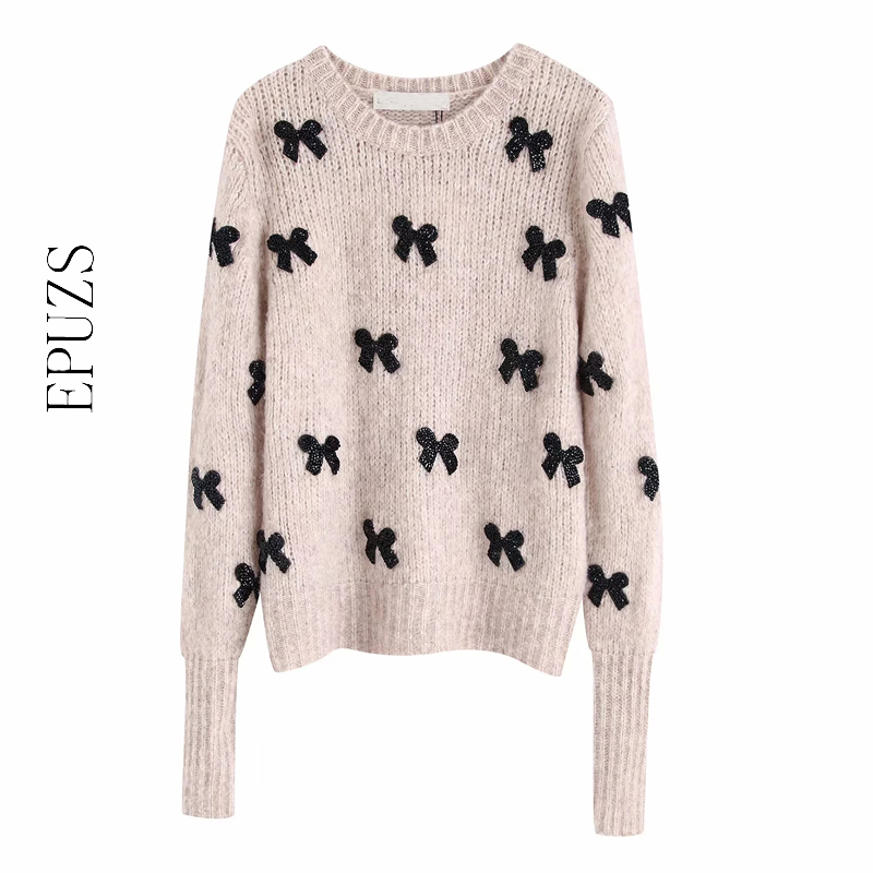 Elegant Bow Tie Appliques Knitted Sweater Women Pullovers 2019 O Neck Long Sleeve Womens Sweaters Winter Chic Tops