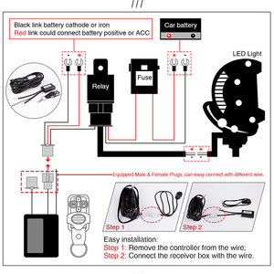 Image 4 - Arnés de cableado Cable remoto del controlador, para barra de luz LED de obra, 12, 22, 32, 42, 52 pulgadas, 18W, 24W, 36W, 72W, 120W, 180W, 240W, 300W, 500W