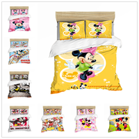 Mickey Mouse Bedding Set Christmas Gift Soft Home Textiles Bedroom Twin Double Queen King Size Children Couple Student Bed Set