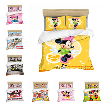 Mickey Mouse Bedding Set Christmas Gift Soft Home Textiles Bedroom Twin Double Queen King Size Children Couple Student Bed