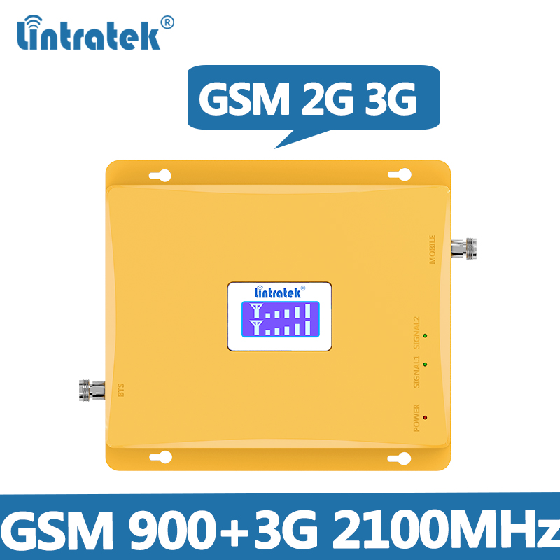 Lintratek Booster 3G 2100MHz GSM 900Mhz Dual Band Cell Phone Signal Booster GSM 900 2100 UMTS Signal Repeater Ενισχυτής @ 6.2