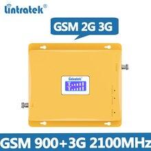 Lintratek booster 3g 2100 mhz gsm 900 mhz faixa dupla telefone celular impulsionador de sinal gsm 900 2100 umts repetidor de sinal amplificador @ 6.2