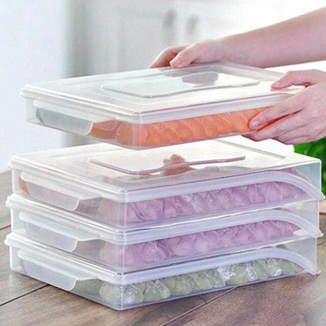 1pc Fridge Dumpling Storage Box Tray Single Layer Plastic Food Container Box for Dumplings Wonton Fresh-keeping Frozen Organizer