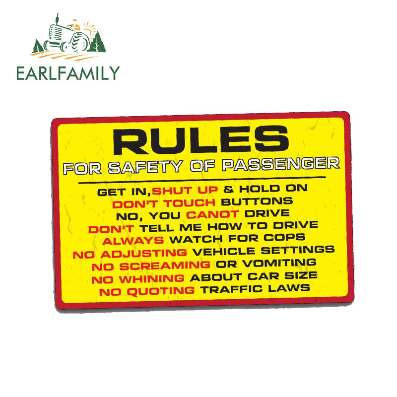EARLFAMILY 13cm X 9.5cm RULES SAFETY Sticker Decal Funny Car Truck 4X4 Offroad 4WD Dirt JDM Race Waterproof Car Stickers