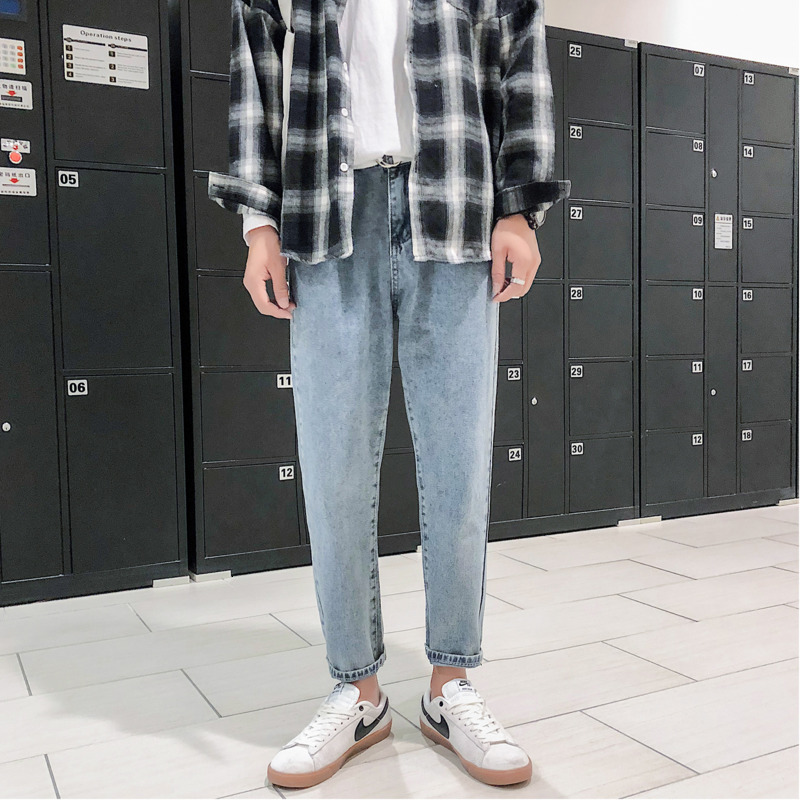 Autumn Jeans Men Slim Fashion Washed Solid Color Casual Denim Trousers Man Streetwear Hip Hop Loose Straight Jeans Pants Men