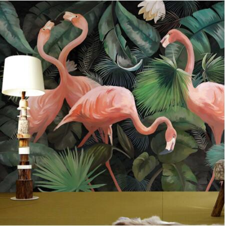 Custom 3D Photo Wallpaper Stereo Hand Painted Flamingo Wallpaper Restaurant Children Room Zoo Lounge Wallpaper Papel De Parede