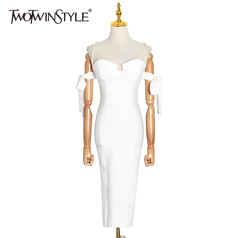 TWOTWINSTYLE Elegant Evening Party Dresses Female Square Collar Spaghetti Strap High Waist Patchwork Beading Lace Up Dress Women