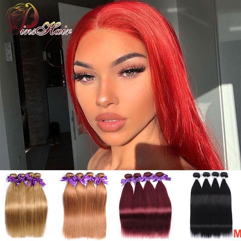 Peruvian Red 99J Human Hair Bundles Pinshair Honey Blonde Brown Bundles Straight Hair Weave 4 Bundles Non-remy Hair For Women