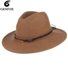 GEMVIE Wide Brim 100% Wool Fedora Buckle Leather Belts Camel Felt Hat For Women Man New Warm Winter Panama Jazz Cap