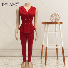 Work Pant Suits 2 Piece Set for Women Business interview suit set V neck uniform smil Blazer and Pencil Pant Office Lady suit adogirl work ol suit female sleeveless top and pant suit set female coat v neck sexy chic suit women office set 2 pieces outfits