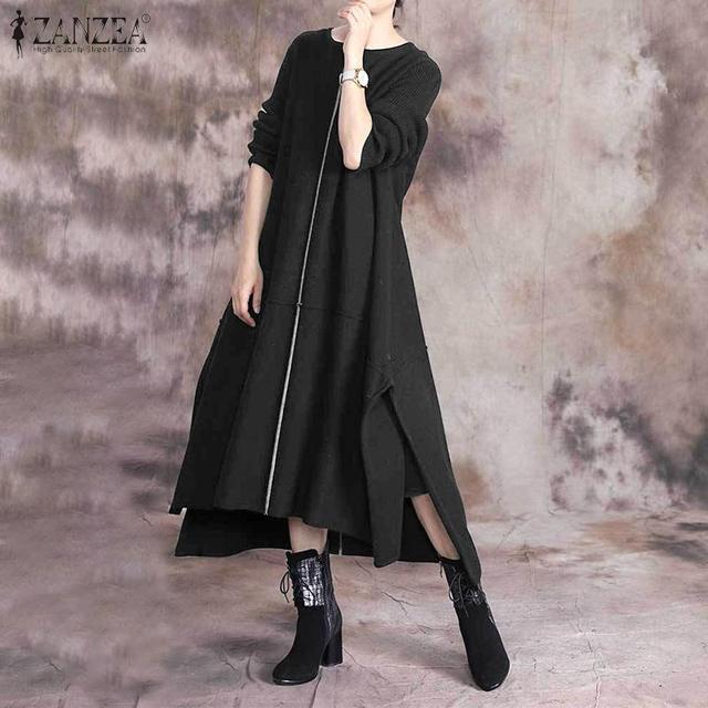 Caftan femmes Stiching Sundress ZANZEA 2020 printemps Robe fendue à manches longues Midi Vestidos femme décontracté solide Robe grande taille 7