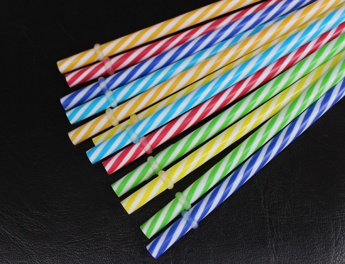 Pp Color Thread Straw Double-layer Cup Only Straw Lengthen 27 Cm