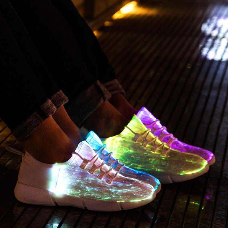 Summer DEL Fibre Optique Chaussures Pour Garçons Filles Hommes Femmes USB Recharge Glowing Sneak