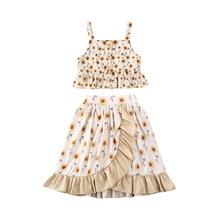 1-6Y flor bebé niño chico Niñas Ropa conjunto girasol Vintage chaleco Tops volantes faldas de playa de verano de niños trajes
