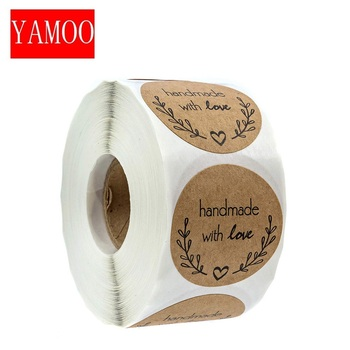 round''Handmade with love'' Stickers seal labels roll sticker for Package decorate handmade sticker stationery supplies50-500pcs