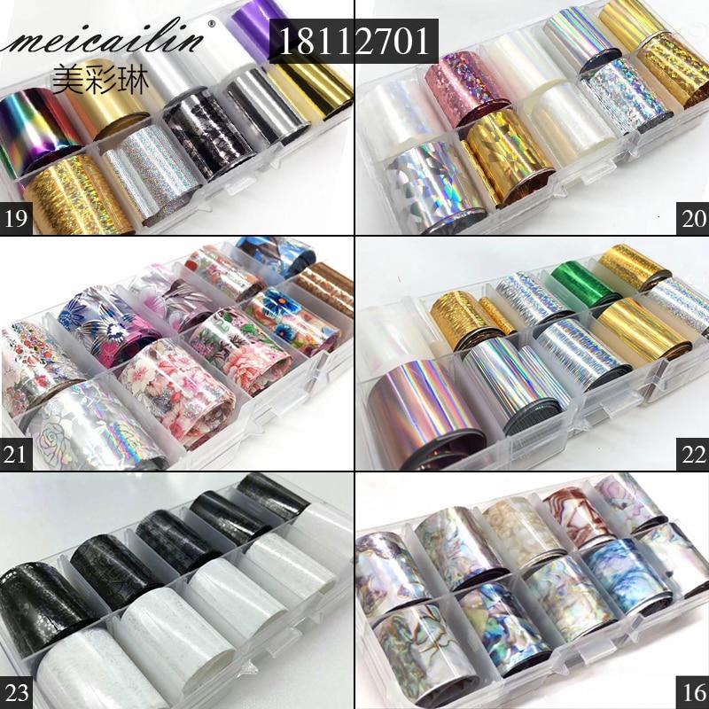 10 Design/set 2.5*100cm DIY Holographic Transfer Foil Nail Art Stickers Starry Paper AB Metal Color UV Gel Wraps Adhesive Decals