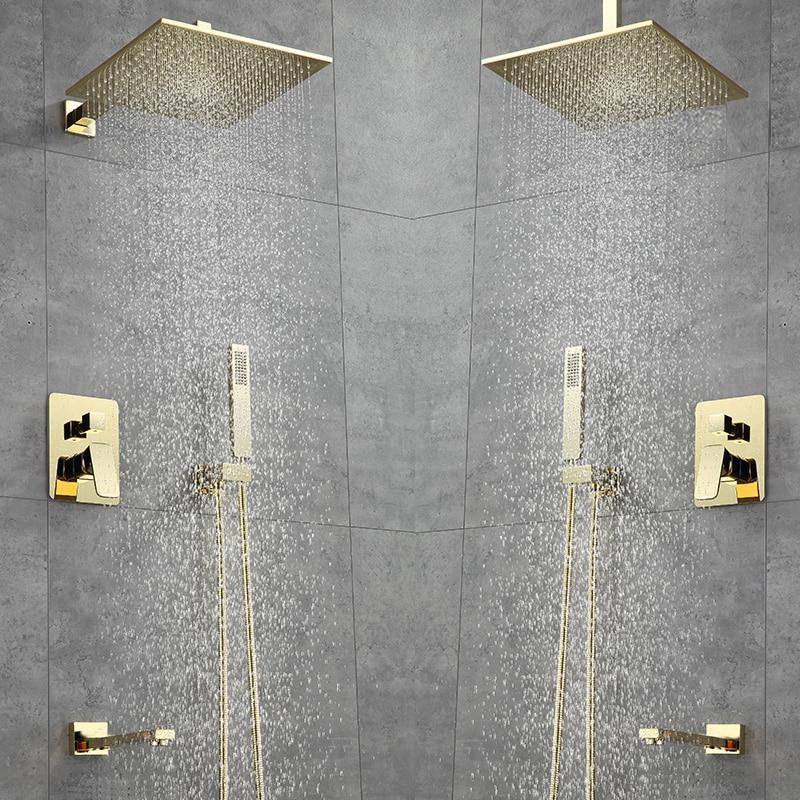 Luxury Bathroom Shower Faucet 10inch Shower Head Gold Stainless Steel Wall Mount W/ Hand Shower Para Bath Shower Mixer Water Tap