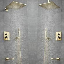 Luxury Bathroom Shower Faucet 10inch Shower Head Gold Stainless Steel Wall Mount W/ Hand Shower Para Bath Shower Mixer Water Tap golden 8 rain shower faucet dual handles wall mount mixer tap w hand shower new