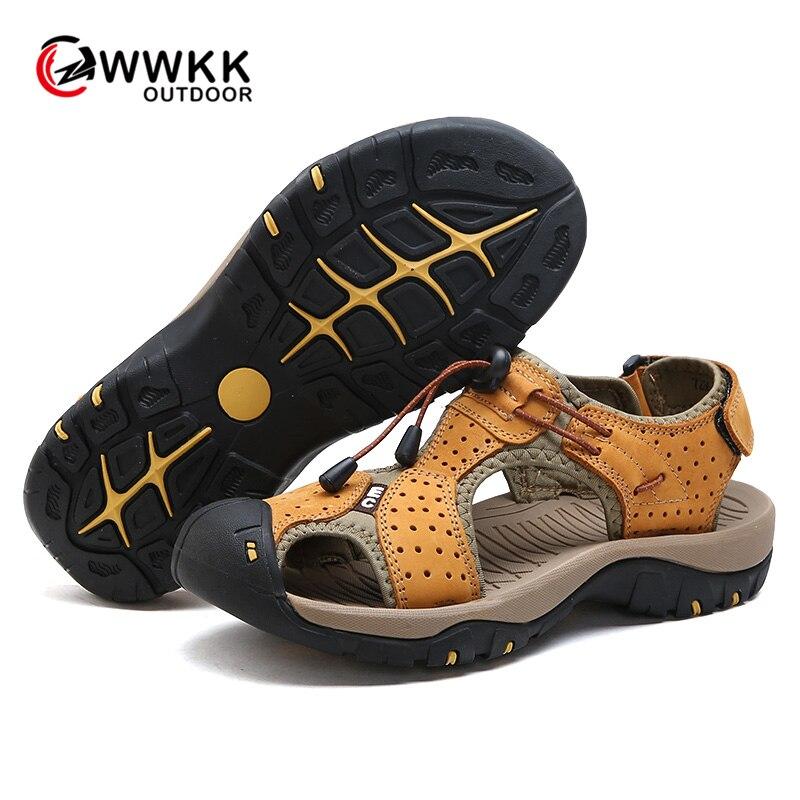 WWKK/летние сандалии для мужчин; прогулочная Спортивная уличная Удобная походная обувь; пляжная повседневная мужская обувь на плоской подошв...