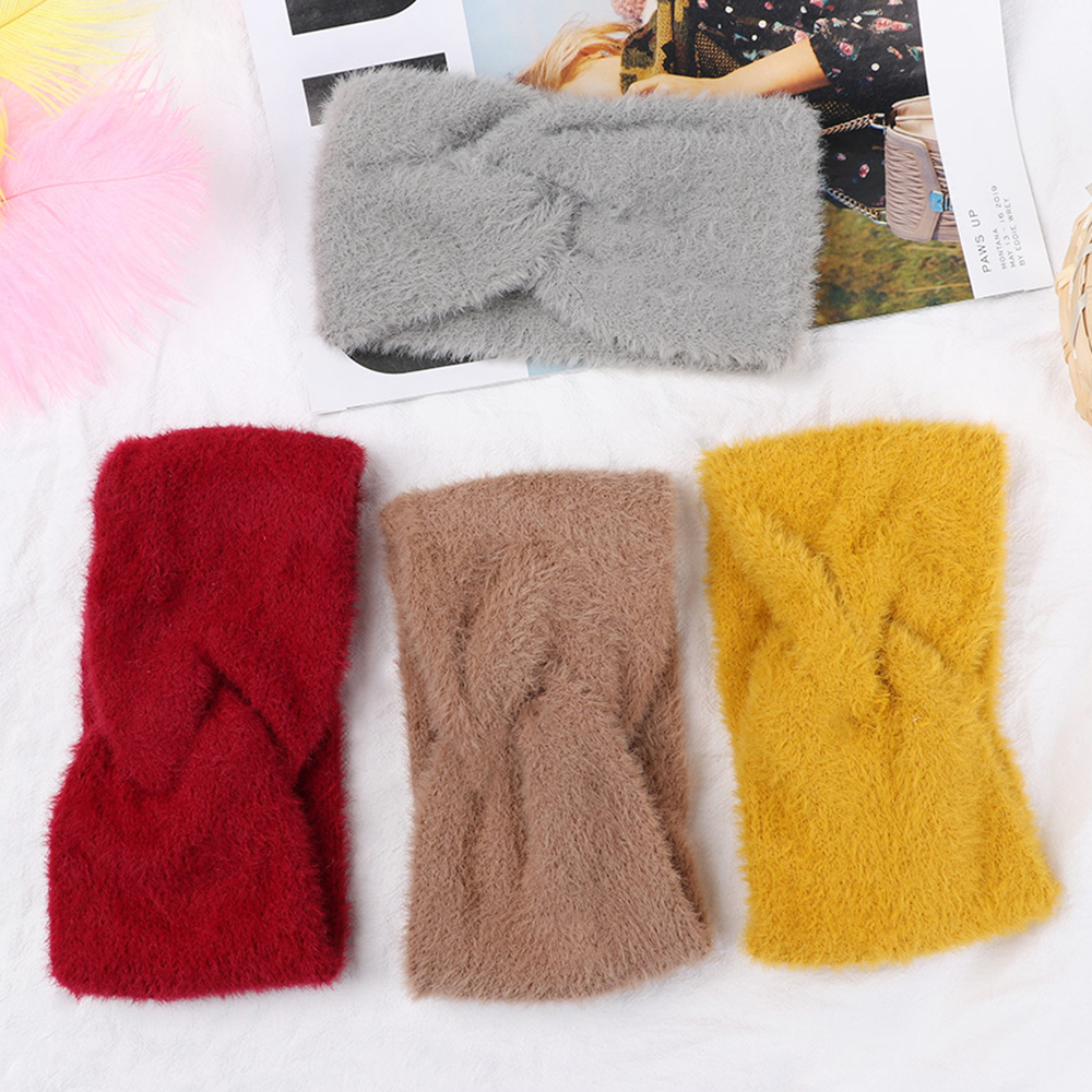 1PC Soft Cashmere Women Elastic Knitted Headband Twist Knot Crochet Thick Hairband Girls Hair Band Accessories Winter Ear Warm